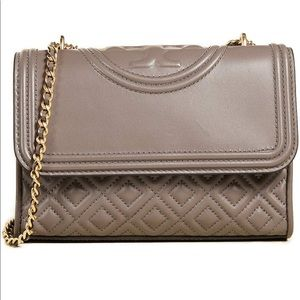 Tory Burch convertible Fleming bag in silver maple